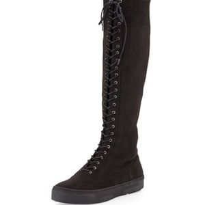 Stuart Weitzman Downtown Lace-Up Suede Tall Boot